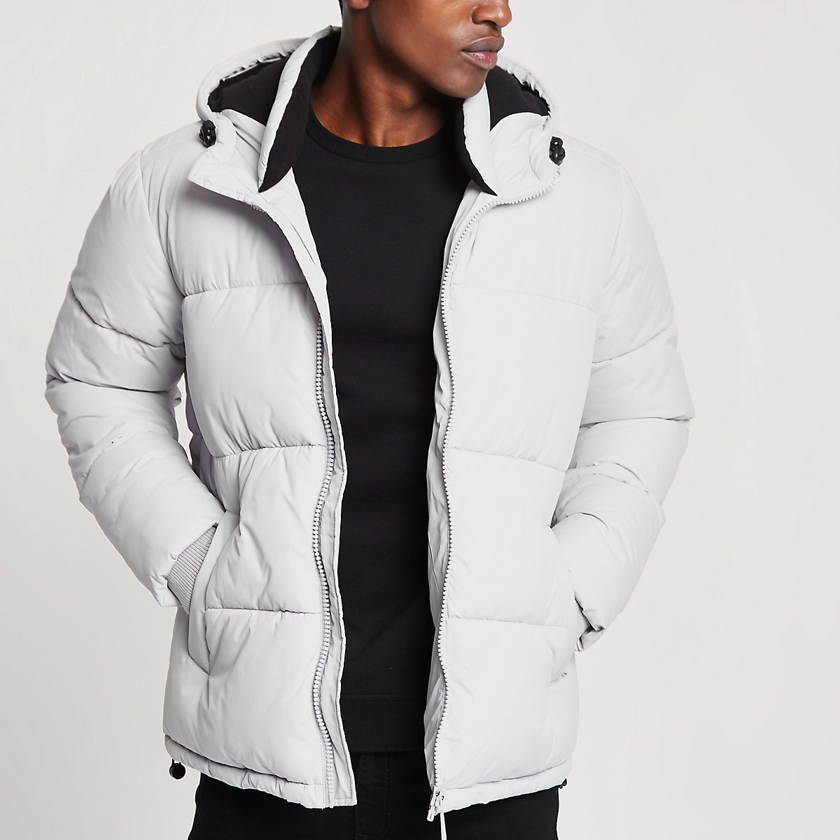 Grey hooded puffer jacket with funnel neck