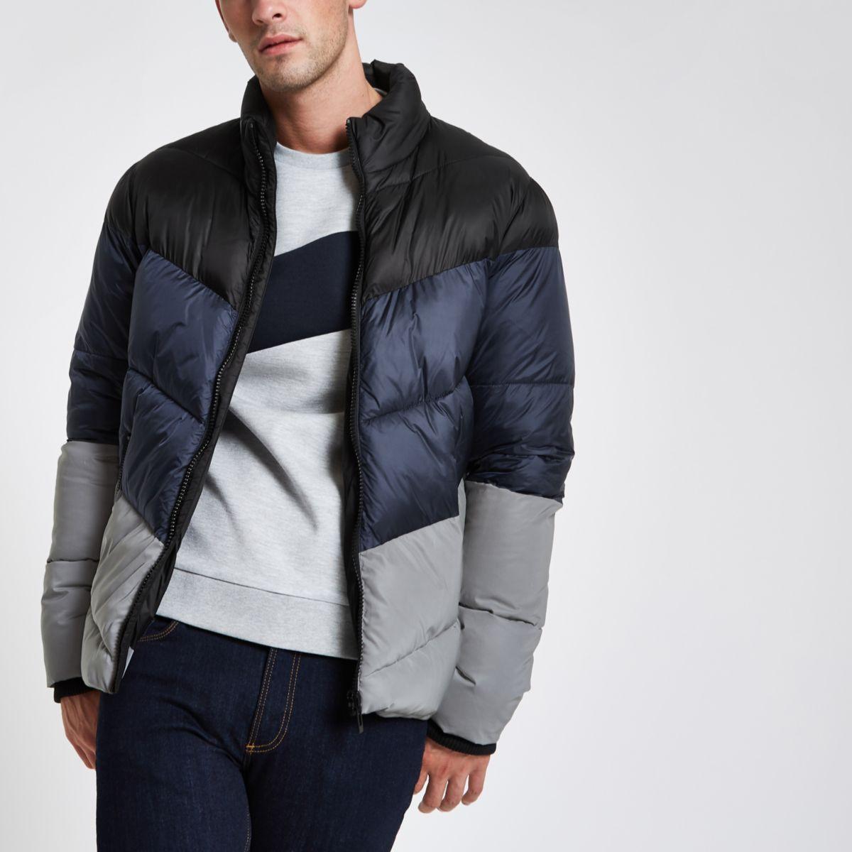 Blue colour block reflective puffer jacket