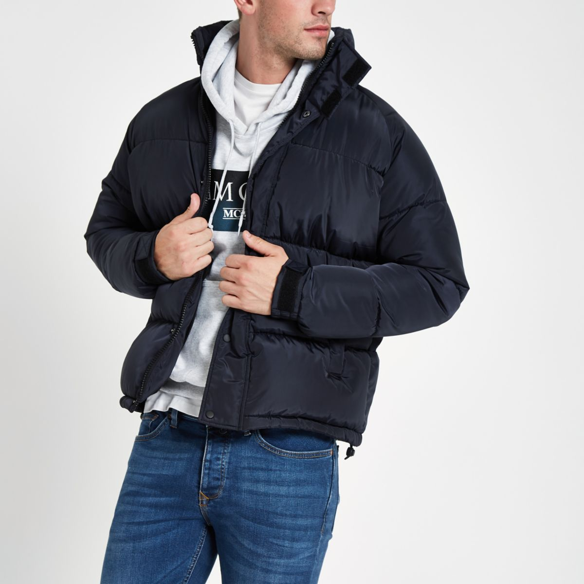 Navy funnel neck puffer jacket