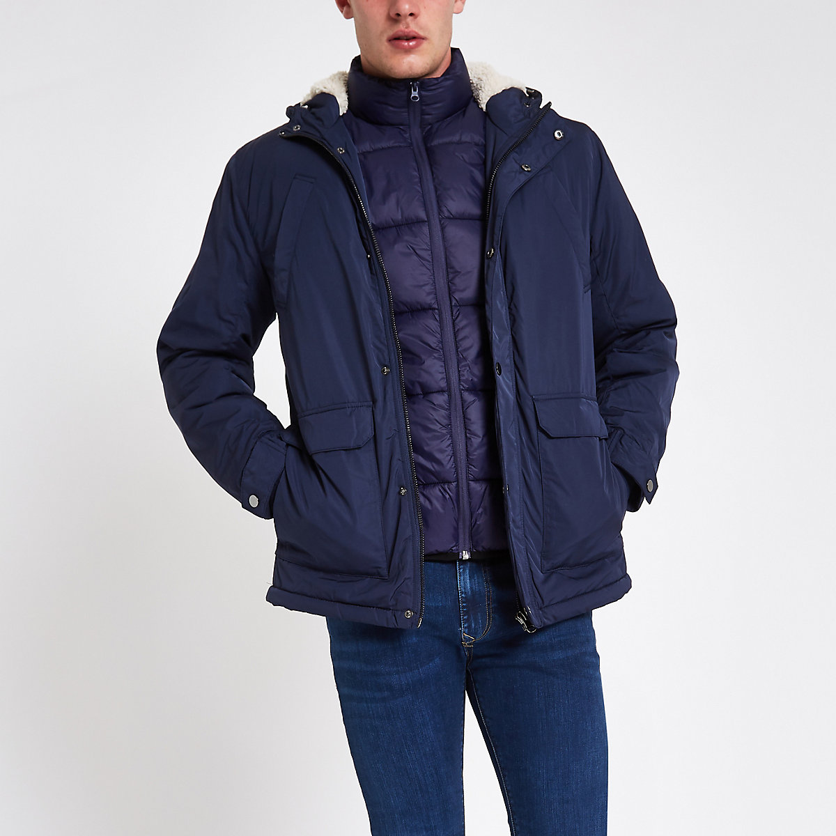 Navy hooded borg lined jacket