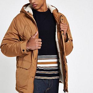 Veste marron clair à capuche avec doublure imitation mouton