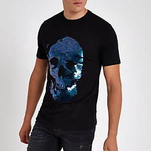 Zwart slim-fit T-shirt met pailletten en doodshoofdprint