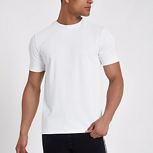 White wide ribbed muscle fit T-shirt