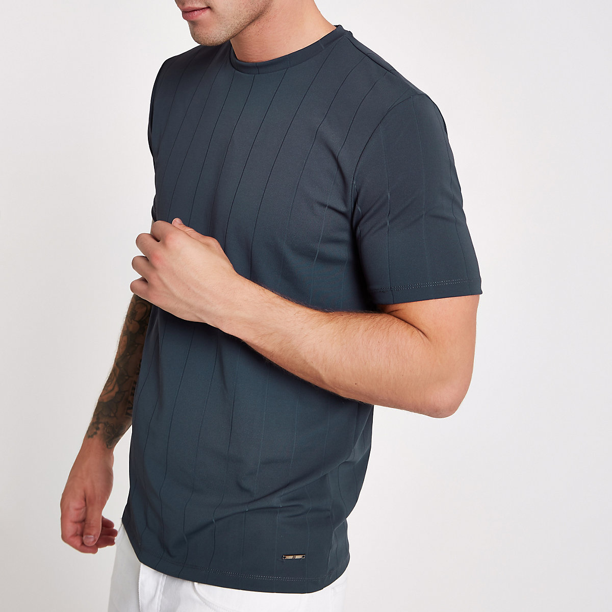 Blue wide ribbed muscle fit T-shirt