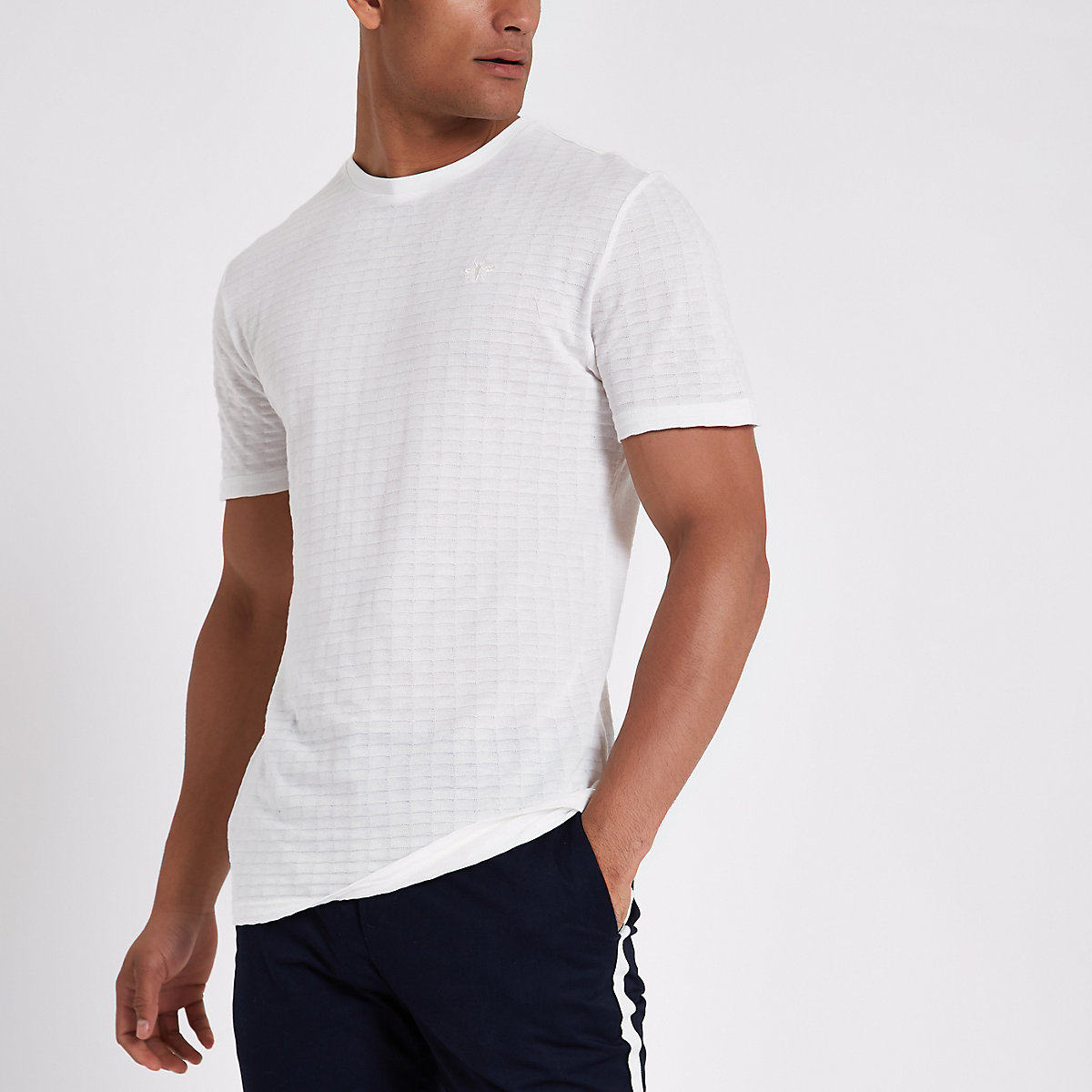 White waffle slim fit short sleeve T-shirt