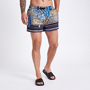 Black check print swim trunks