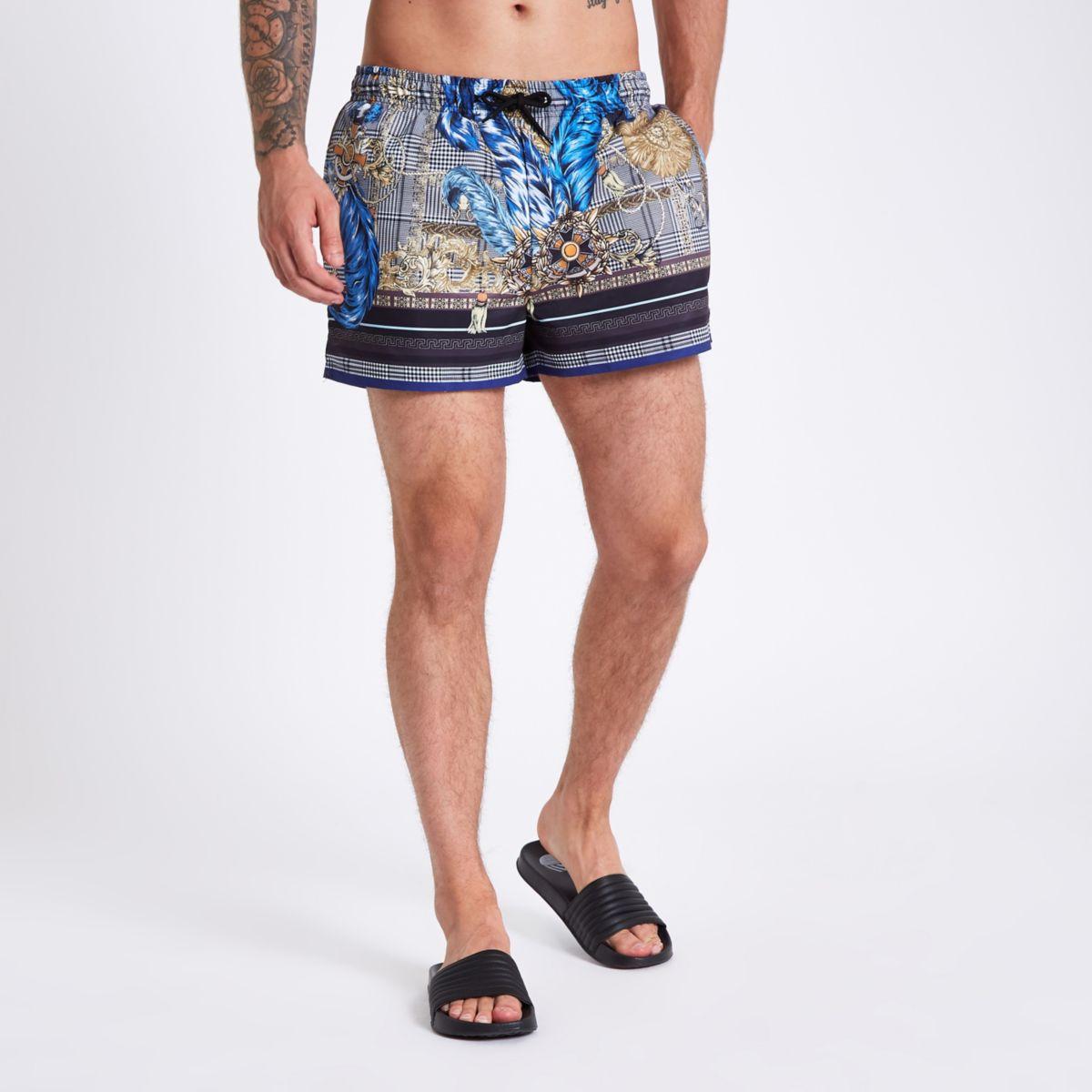 Black check print swim trunks