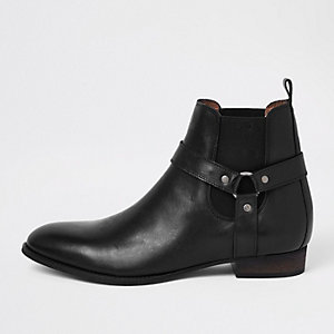 Black western style leather boots