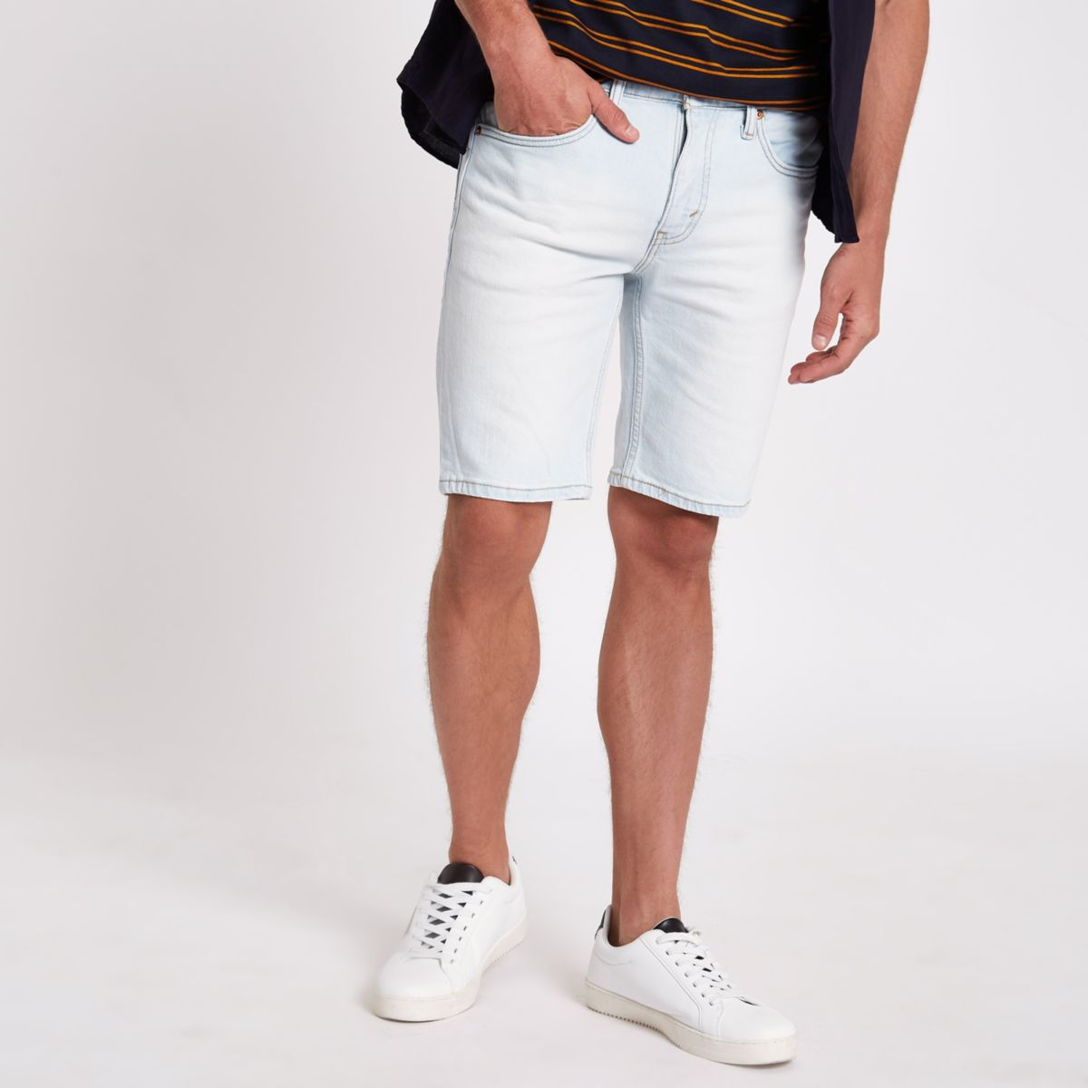 Light blue Levi's 511 slim fit denim shorts