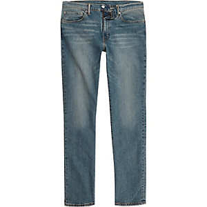 Levi's - Blauwe 511 slim-fit distressed jeans