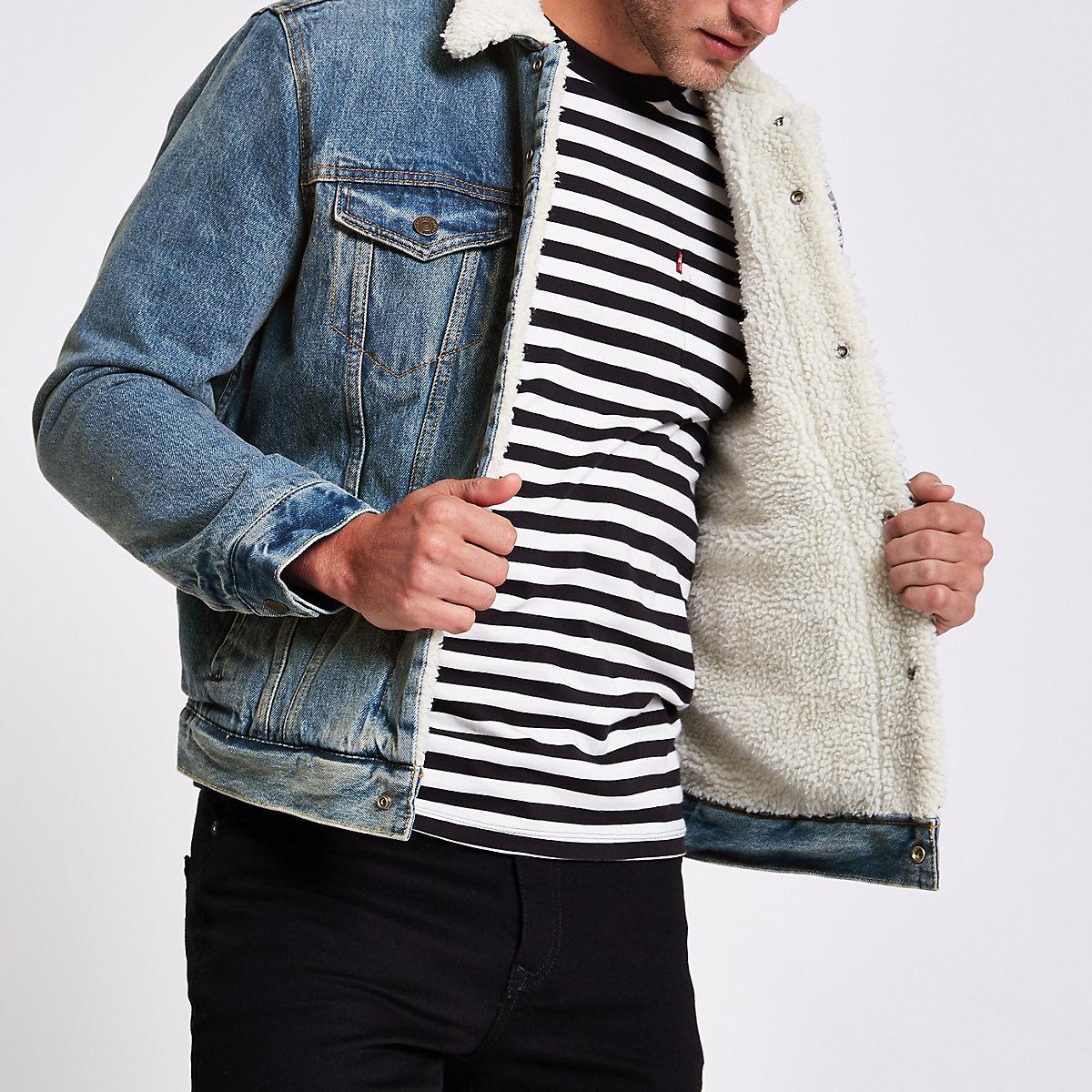 Levi's blue faux shear denim trucker jacket