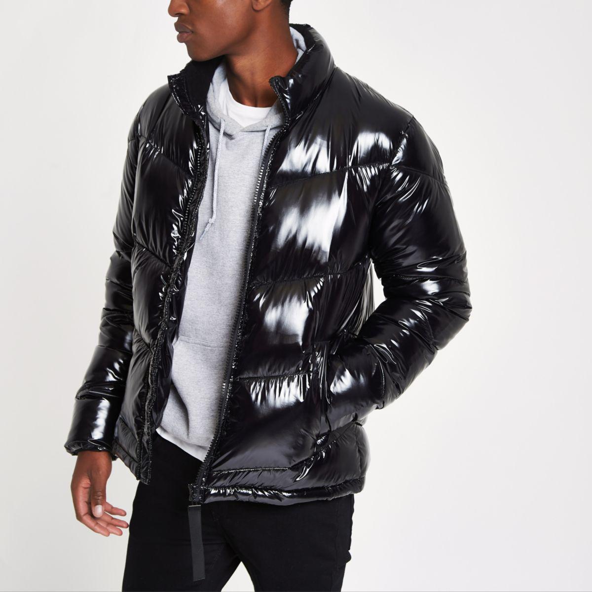 Black funnel neck shiny puffer coat