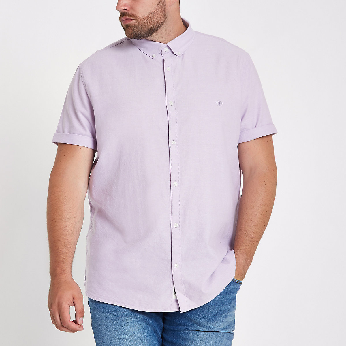 Big & Tall – Chemise Oxford lilas à manches courtes