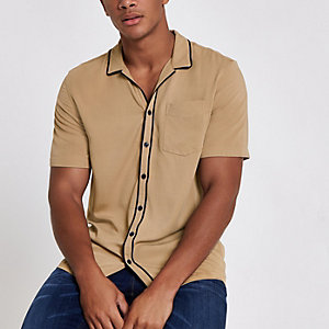 Ecru overhemd met korte mouwen