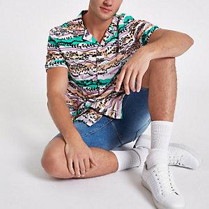 Wit overhemd met aztekenprint en korte mouwen