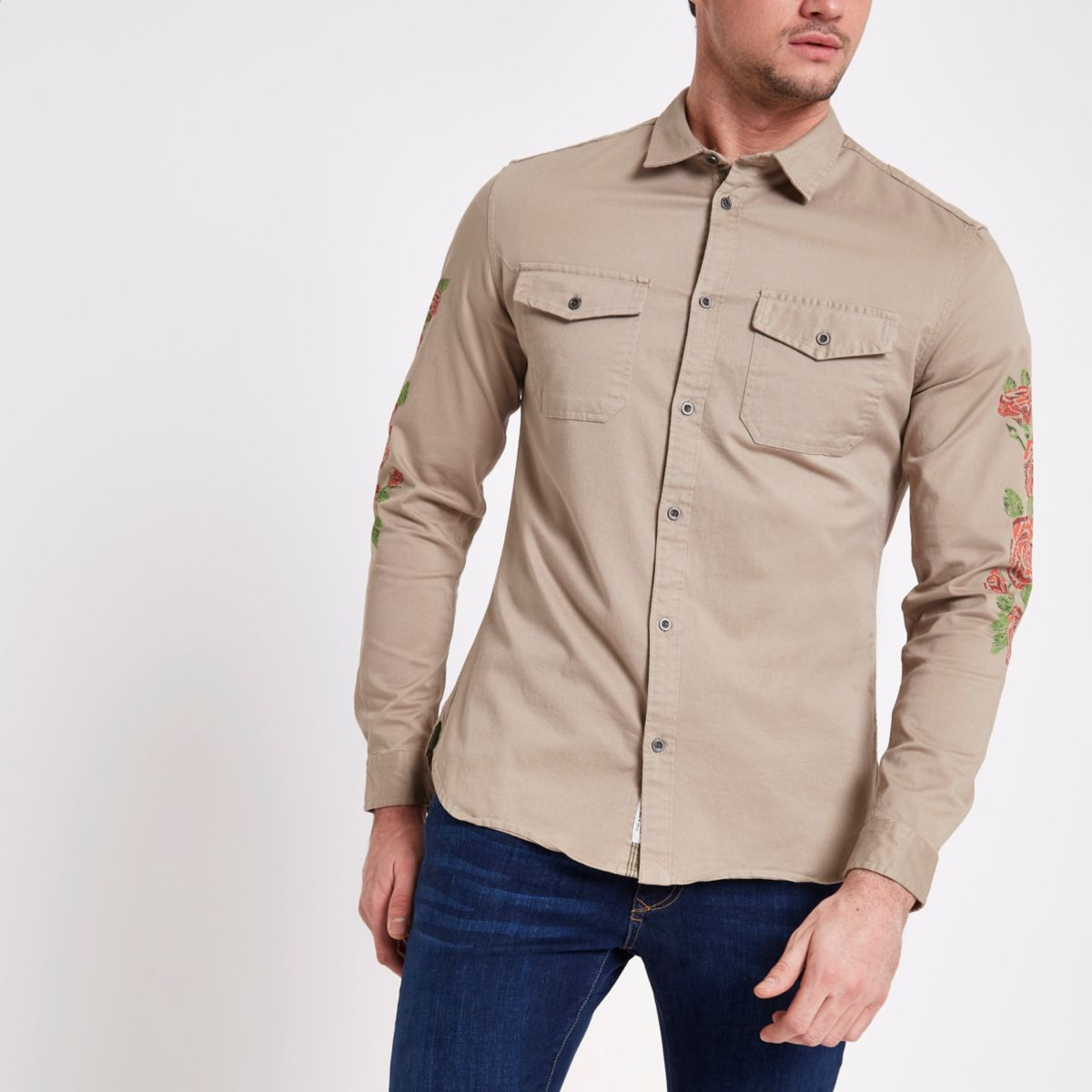 Stone floral sleeve muscle fit military shirt