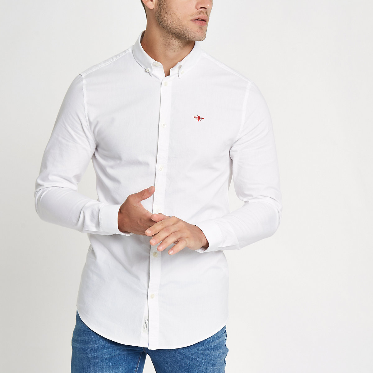 White embroidered long sleeve Oxford shirt