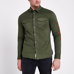 Khaki floral sleeve muscle fit military shirt