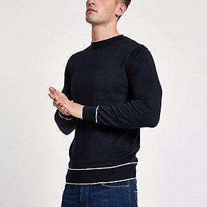 Marineblaues Slim Fit Sweatshirt mit Zierstreifen