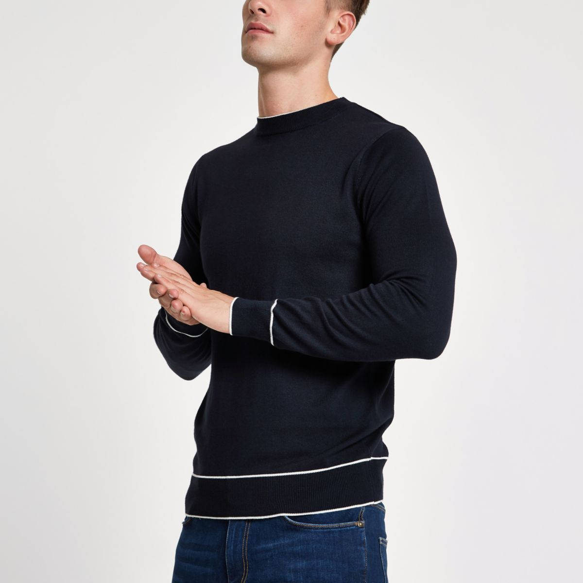 Navy tipped crew neck slim fit sweatshirt