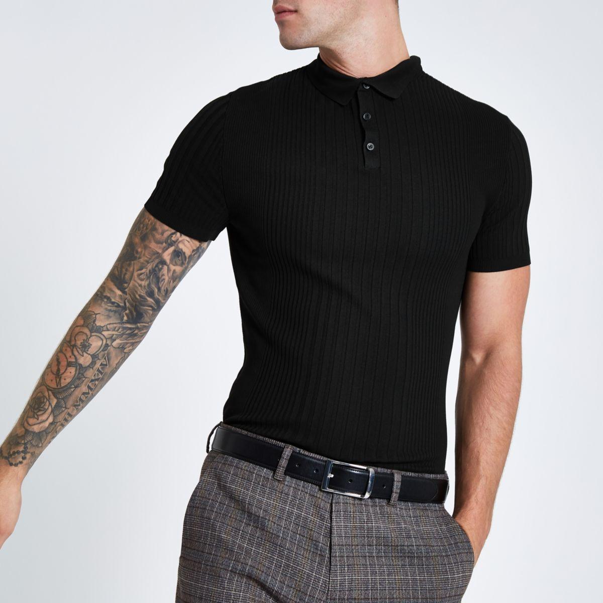 Black rib slim fit polo shirt
