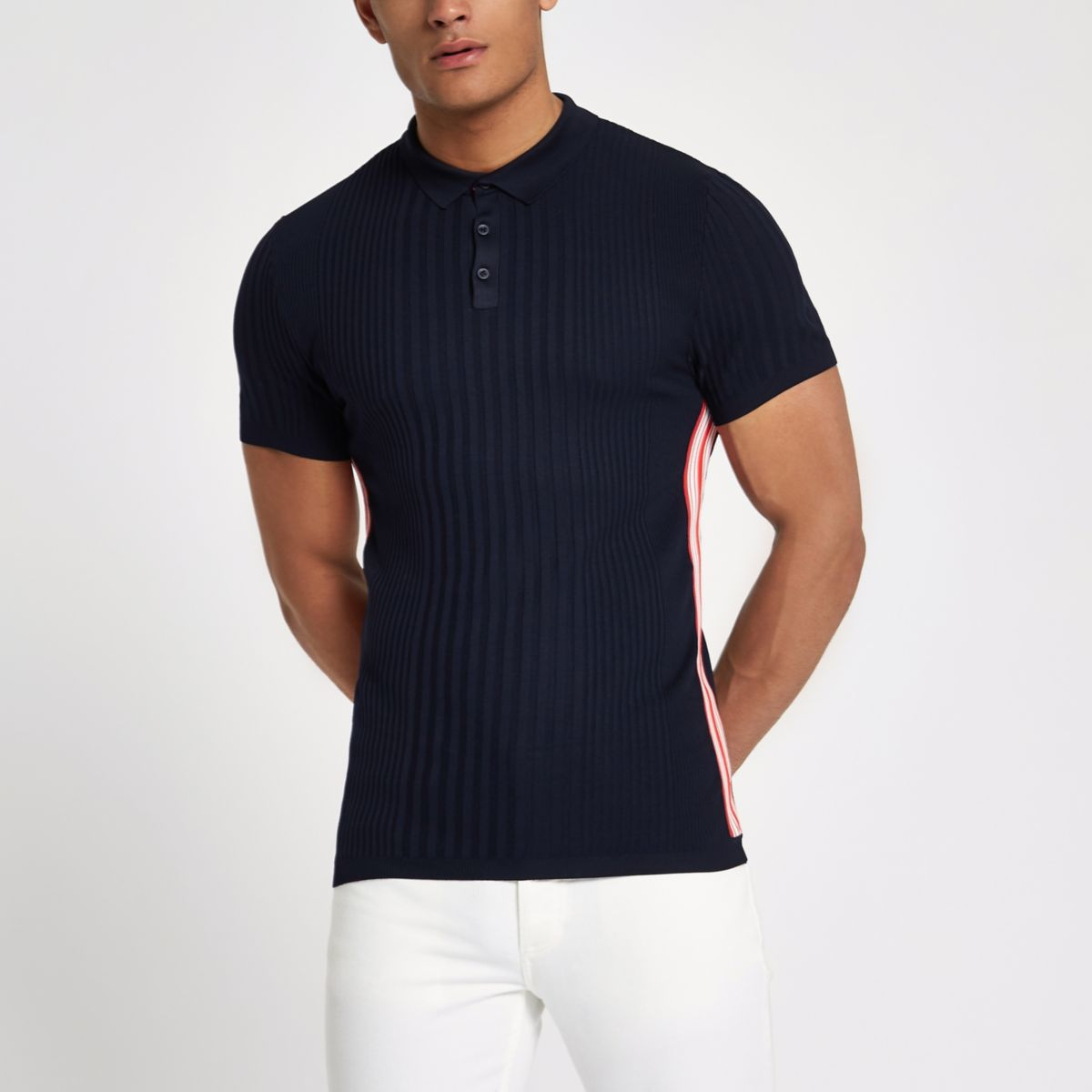 RI Studio navy stripe muscle fit polo shirt