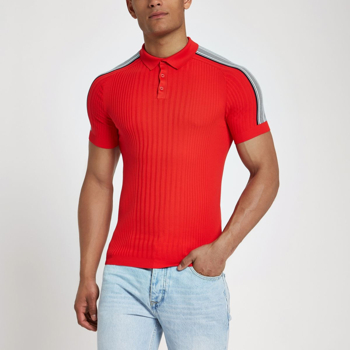 RI Studio red rib muscle fit polo shirt
