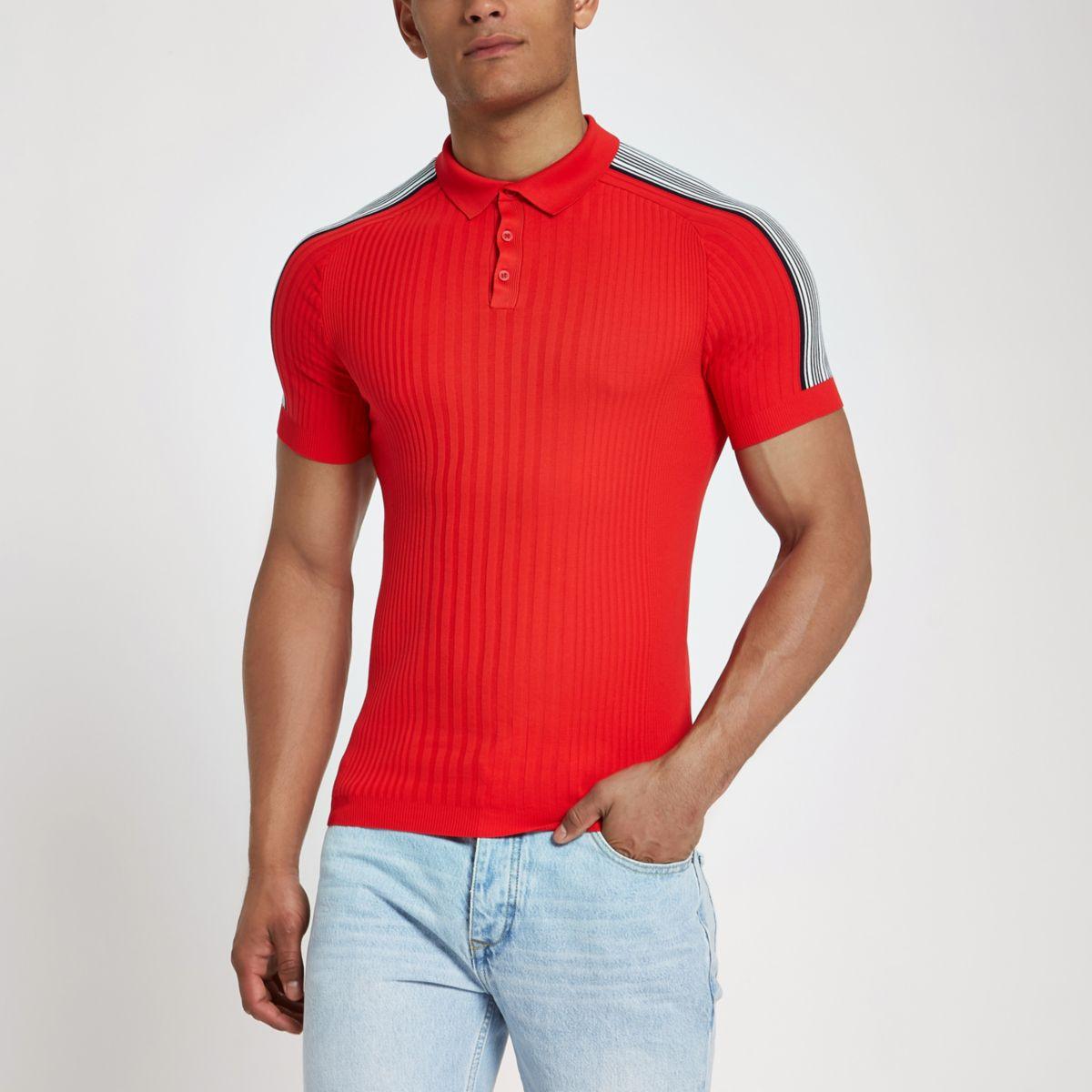 RI Studio red rib muscle fit polo shirt
