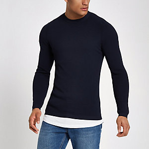 RI Studio navy crew neck muscle fit sweater