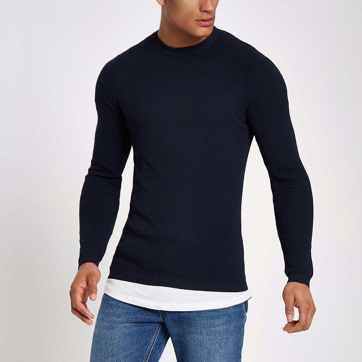 RI Studio navy crew neck muscle fit sweater