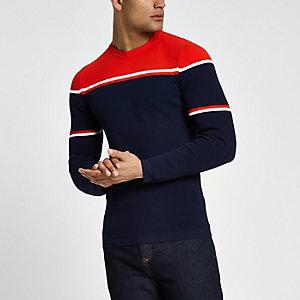 RI Studio - Marineblauwe aansluitende pullover met kleurvlakken