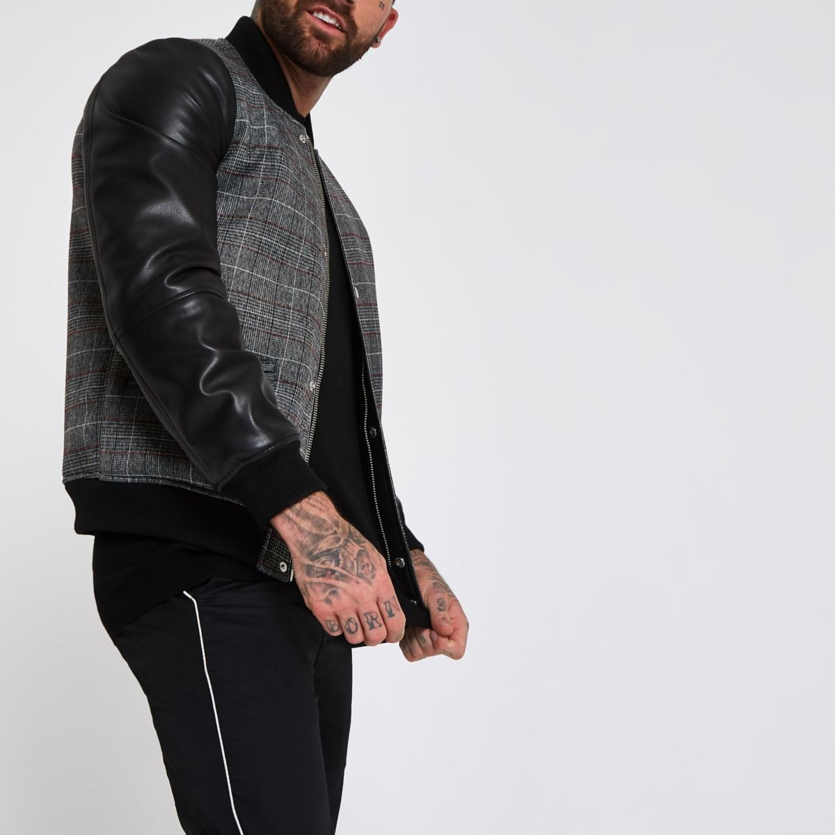 Black check faux leather sleeve bomber jacket
