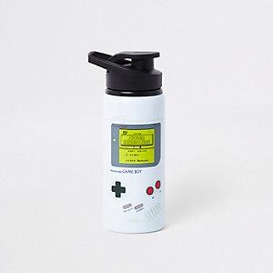 Graue Wasserflasche mit Gameboy-Design