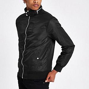 Schwarze Jacke mit Racer-Ausschnitt