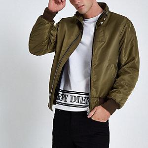 Dunkelgrüne Jacke mit Racer-Ausschnitt