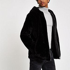 Black faux fur zip front hoodie