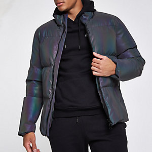 Blue iridescent funnel neck puffer jacket