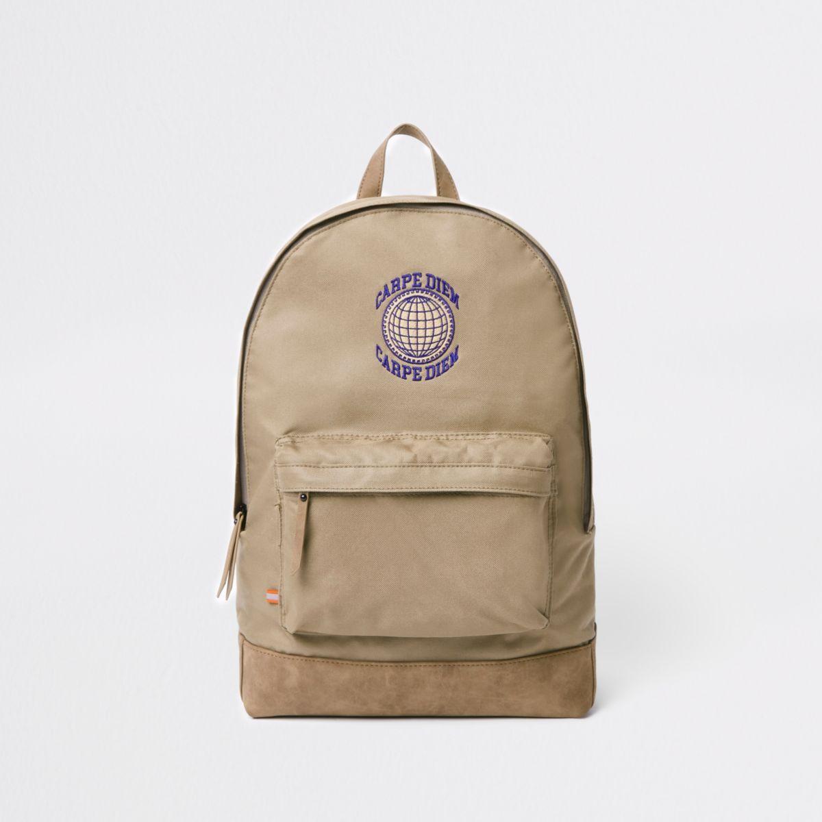 Stone 'Carpe Diem' front pocket backpack