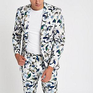 Veste de costume skinny blanche à fleurs