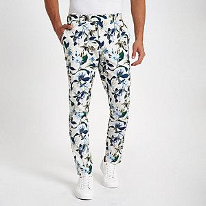 Witte gebloemde skinny-fit pantalon