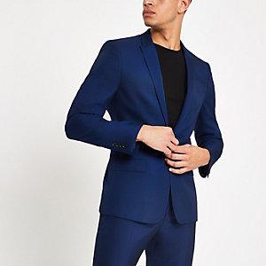 Felblauw skinny-fit colbert