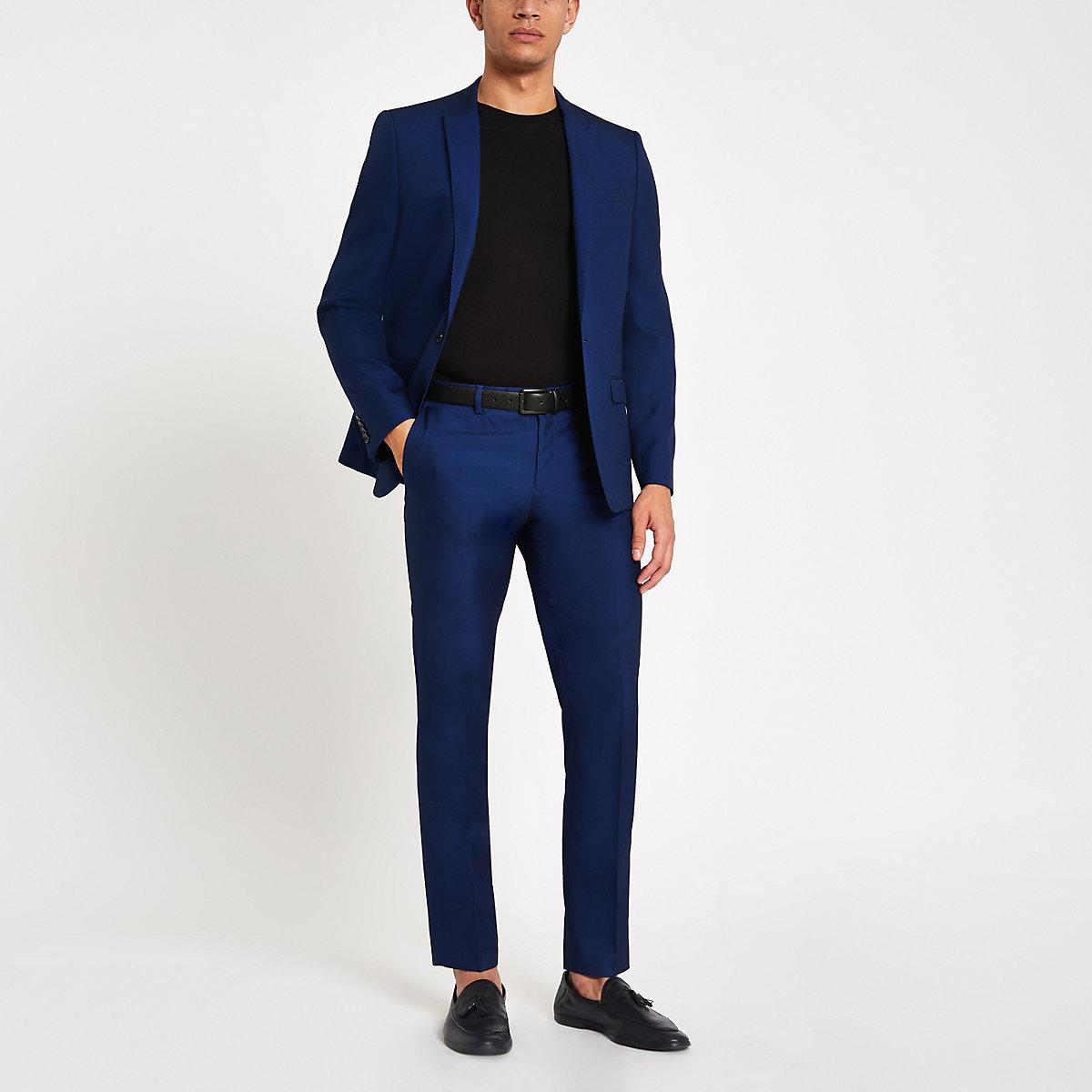 Bright blue skinny fit suit pants