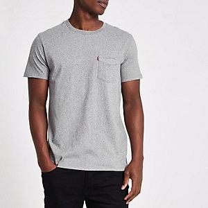 Levi's – Graues T-Shirt mit Tasche