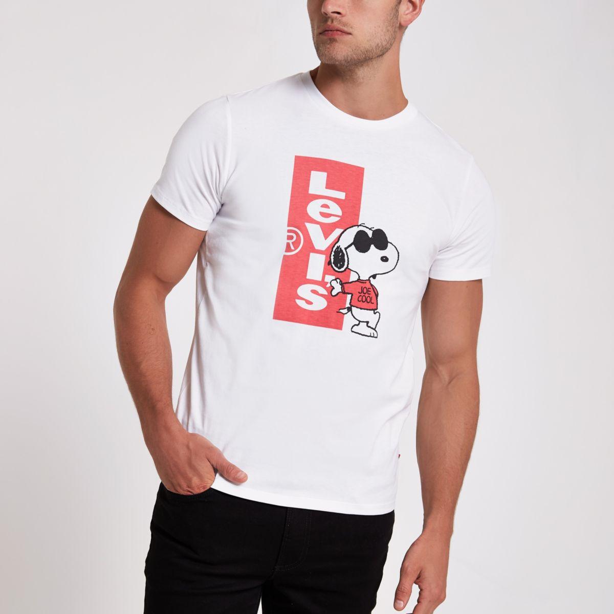 White Levi's Snoopy print T-shirt