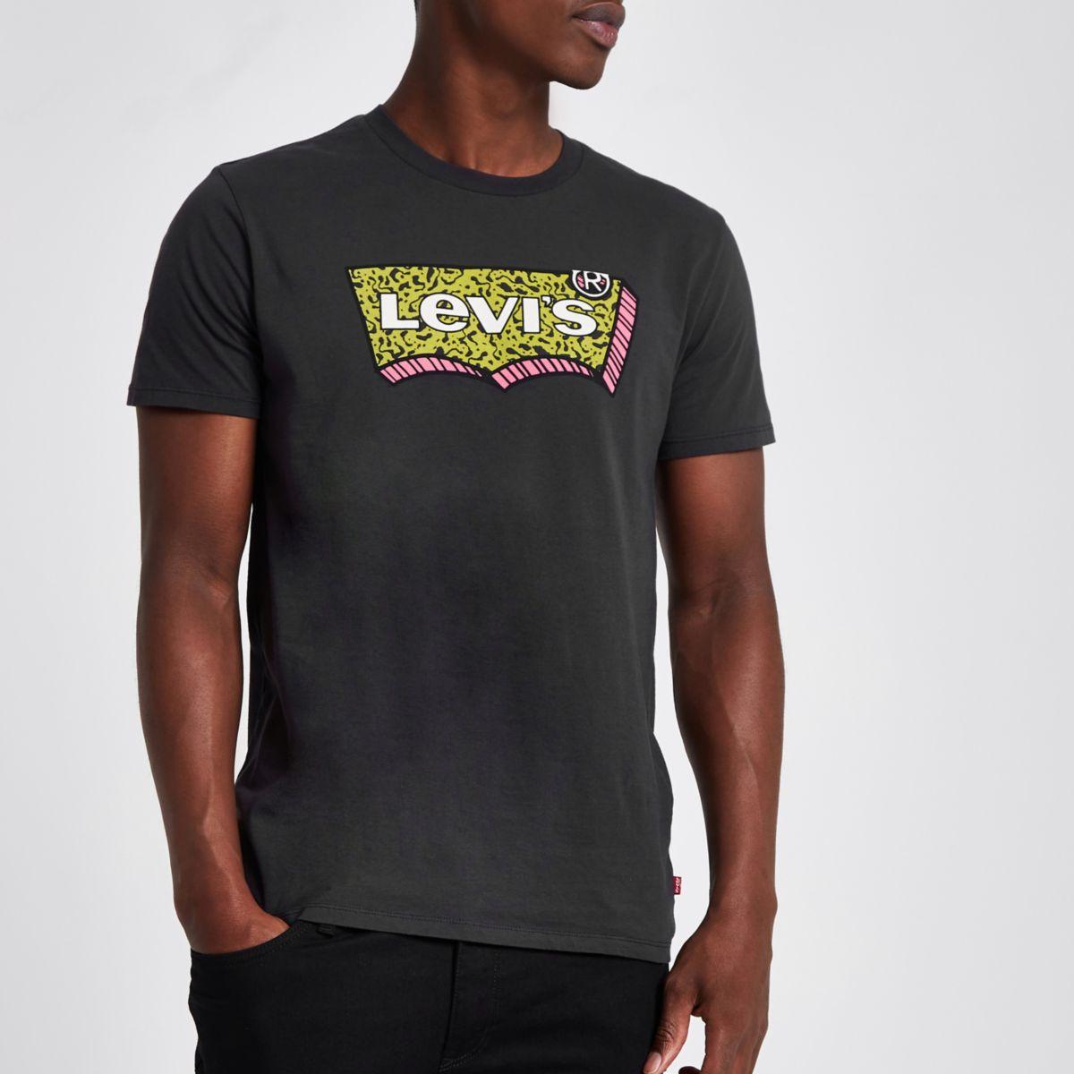 Levi's – T-shirt ras-du-cou à imprimé graphique noir