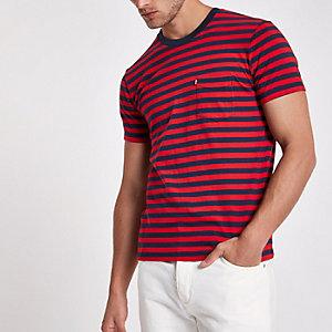 Levi's - T-shirt manches courtes rayé à poche rouge
