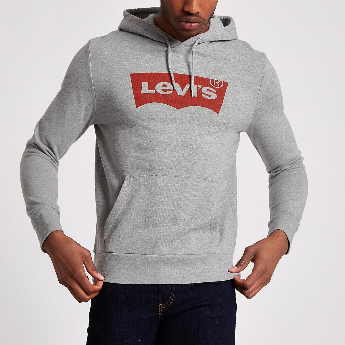 Levi's – Sweat imprimé gris à capuche