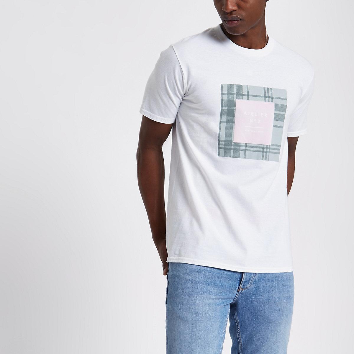 White 'Atelier' velvet box print T-shirt