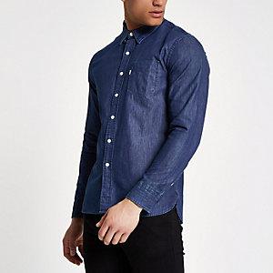 Levi's - Blauw denim overhemd met lange mouwen
