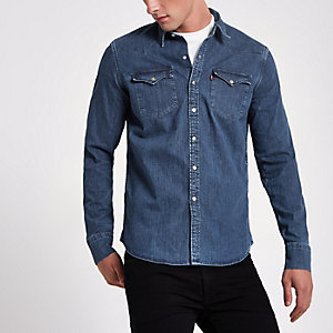 Levi's blue denim western shirt
